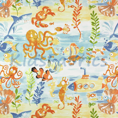 Under the Sea - Denim - £12.95 per metre