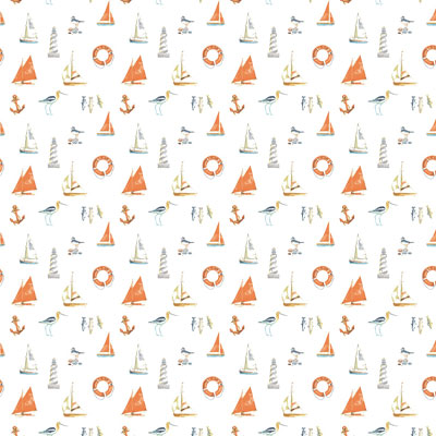 Nautical - Orange - £12.50 per metre