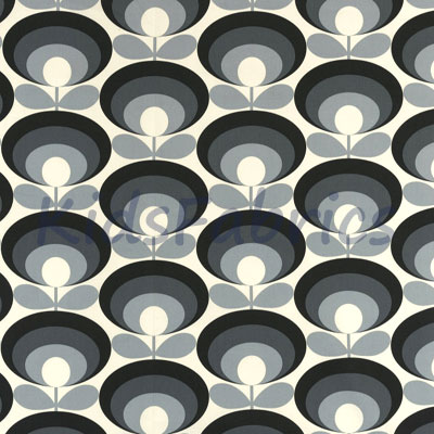 Seventies Flower - Cool Grey - £18.00 Per Metre
