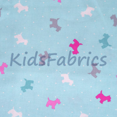 Small Scottie Dog - Aqua - £13.95 per metre