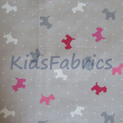 Small Scottie Dog - Raspberry - £13.95 per metre