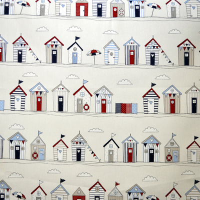 Beach Huts Stripe-Blue - £11.95 per metre