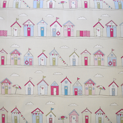 Beach huts stripe pink huts on beach in pink for Childrens curtain fabric by the metre