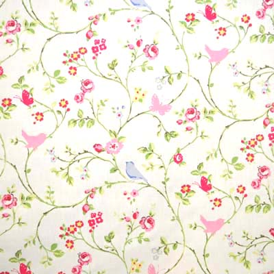Birdtrail chintz birdtrail leaves in chintz white for Childrens fabric uk