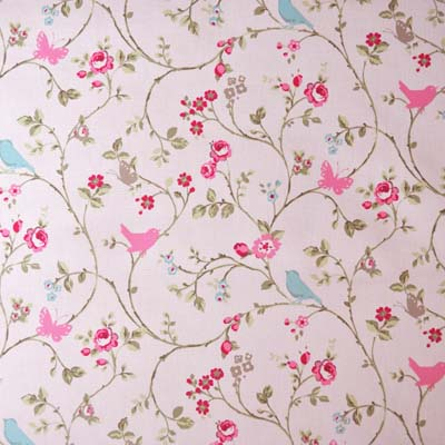 Birdtrail Rose Chintz Fabric On Pale Pink Background