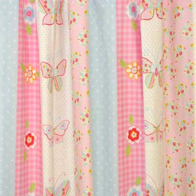 Butterfly garden allotments wellies birds and birdhouses for Childrens curtain fabric