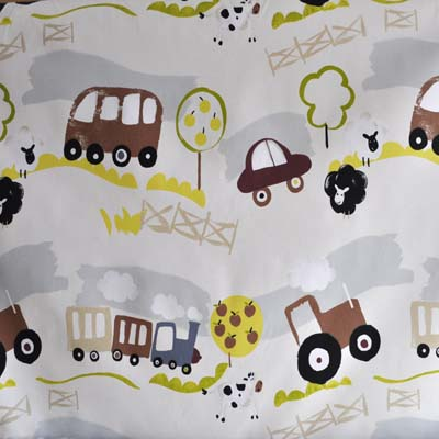Countryside linen countryside theme fabric with farmyard for Train themed fabric