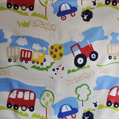 Transport and travel cars and vehicles for boys room kids for Kids train fabric