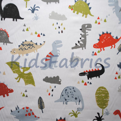 Animal fabrics animal themed materials for kids curtains for Kids dinosaur fabric