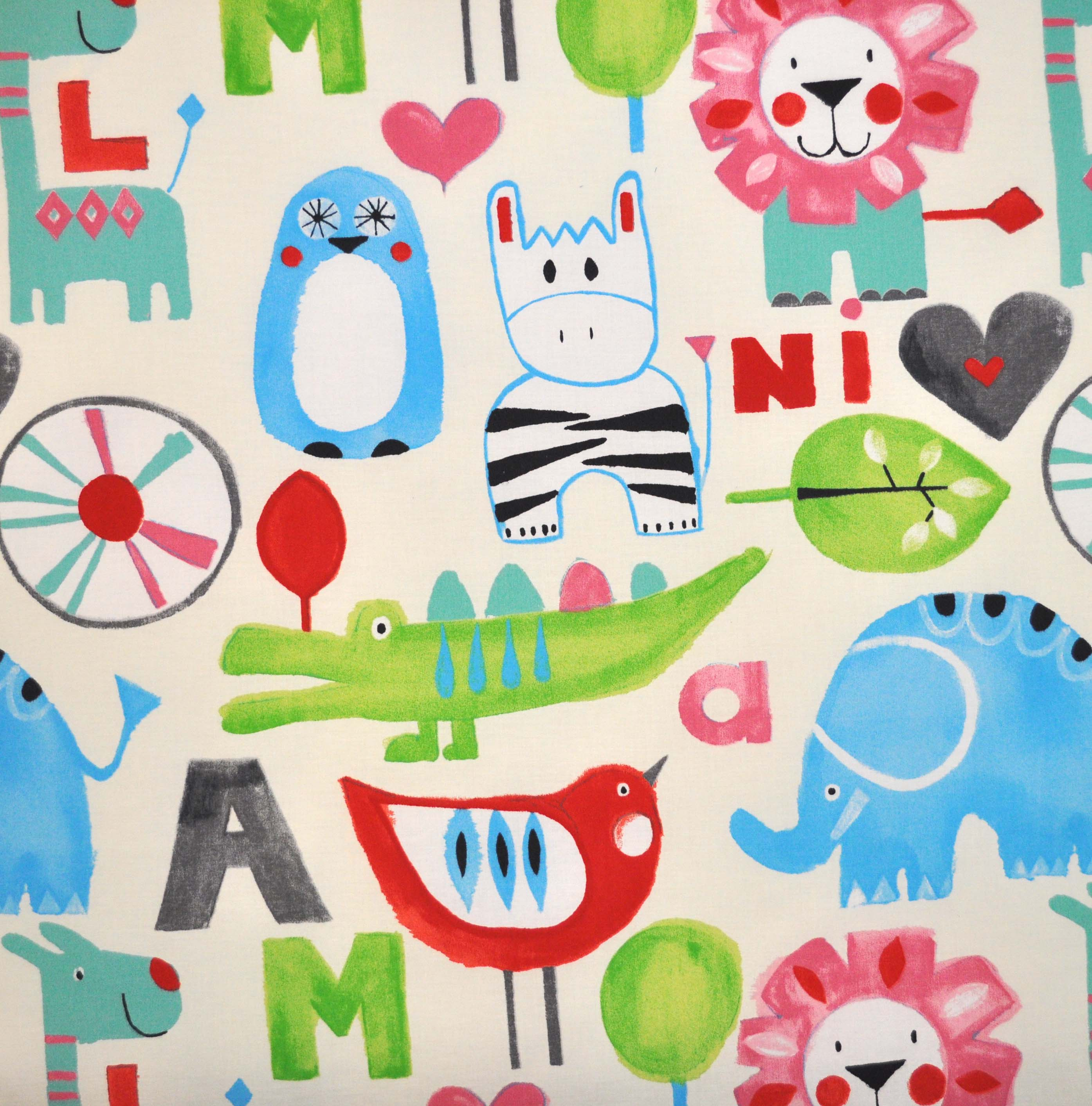 Animal fabrics animal themed materials for kids curtains for Childrens patterned fabric