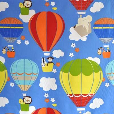 Nursery collection balloons fabric for nursery kids for Childrens curtain fabric by the metre
