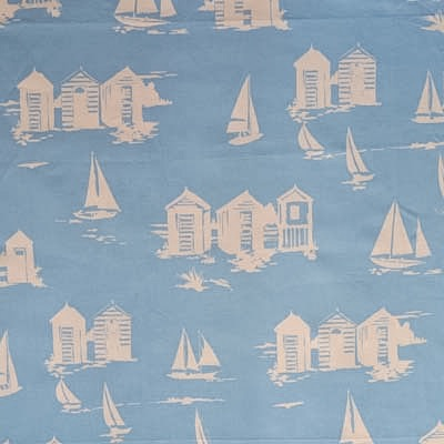 Beach Huts - Blue - £13.50 per metre