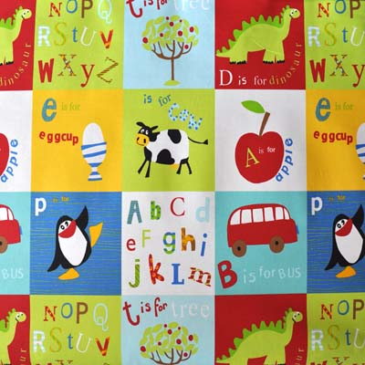 Letterbox primary red letter fabric for kids curtains for Kids curtain fabric