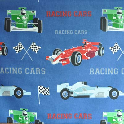 Racing Cars - Denim - £9.75 per metre from Kids Fabrics Online Shop