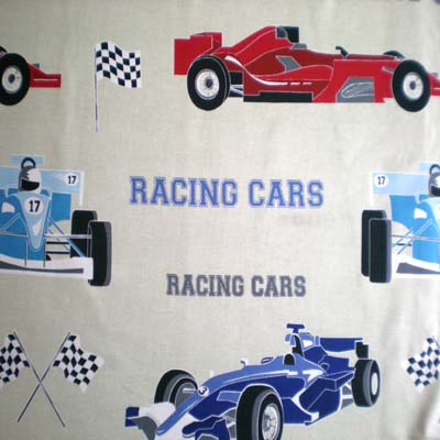 Racing Cars - Natural - £9.75 per metre