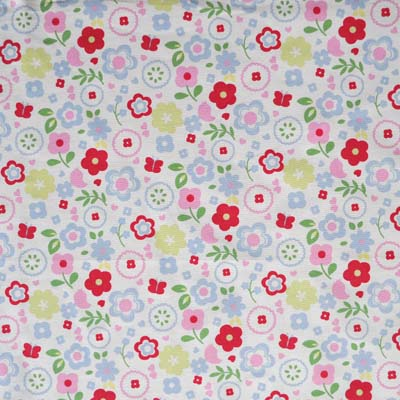 Retro floral chintz busy floral in white background for Childrens curtain fabric by the metre
