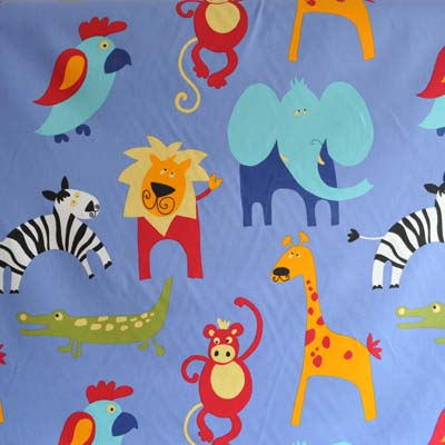Roar cobalt jungle design in blue background for Childrens jungle fabric