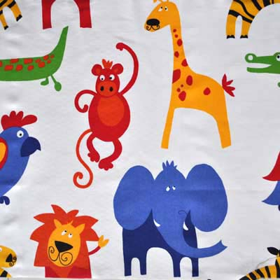 Roar primary roar jungle animals in primary white for Kids drapery fabric
