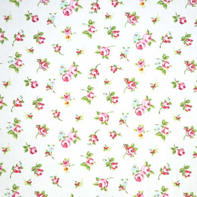 Rosebud chintz vintage rosebud cotton on white background for Kids pattern fabric