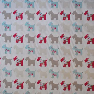 Scottie Dog - Duck Egg - £10.50 per metre