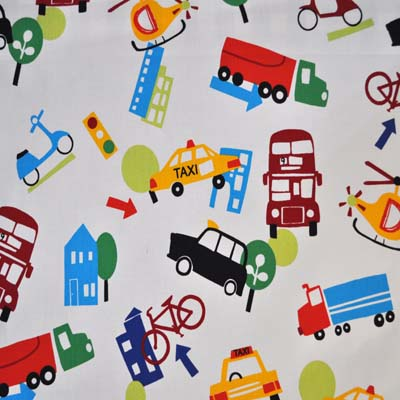 Travel vehicle fabrics cars and vehicles for boys room for Kids drapery fabric