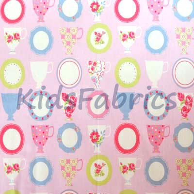 Teacups - Pink [SALE] - £7.50 per metre