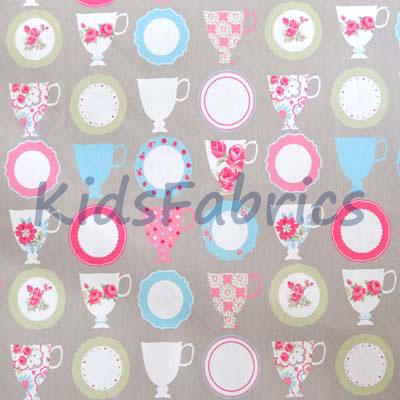Teacups - Taupe [SALE] - £7.50 per metre