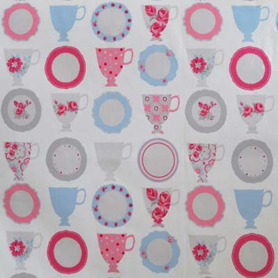 Remnant 1068: Teacups - Rose [0.70 metre] - £5.50 ITEM PRICE