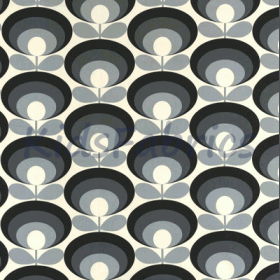 Seventies Flower - Cool Grey - £ 18.00 Per Metre