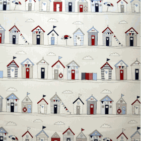 Beach Huts Stripe - Blue - £ 10.95 per metre