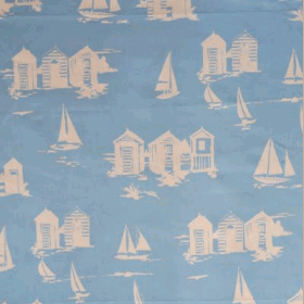 Beach Huts - Blue - £ 10.95 per metre