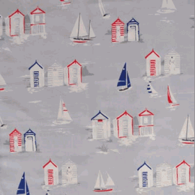Beach Huts - Grey - £ 11.95 per metre