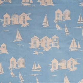 Beach Huts - Blue - £ 13.50 per metre