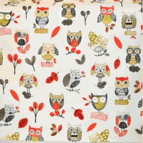 Ollie Owl - Red - £ 11.95 per metre