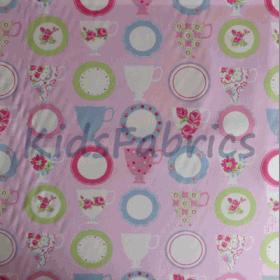 Teacups - Pink - £ 9.20 per metre