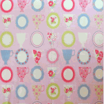 Remnant 958: Teacups - Pink [0.50 metre - £3.90] - £ 3.90 item price