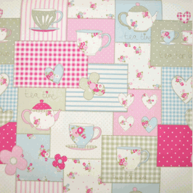 Remnant 1001: Teatime - Pink [0.35 metre] - £ 3.00 Item price