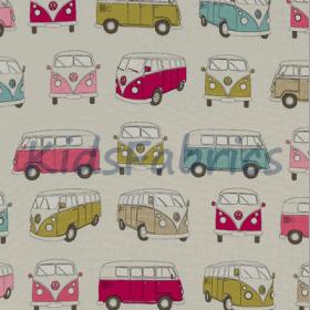 Camper Vans - Pink - £ 12.50 per metre