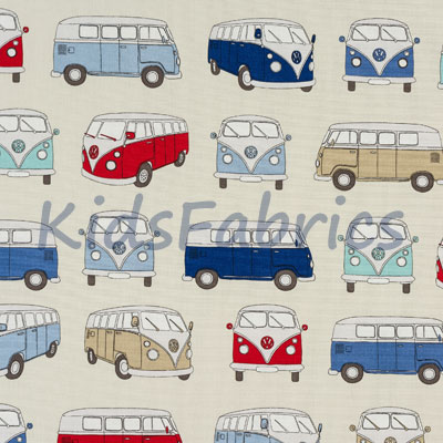 Camper Vans - Blue [SALE] - £10.50 per metre