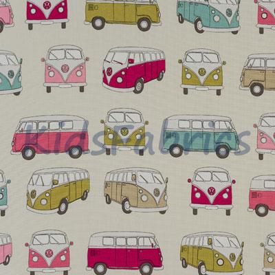 Camper Vans - Pink - £12.50 per metre