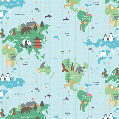 World Map - Blue - £13.50 per metre